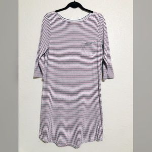 Gap Gray Striped Boatneck Dress